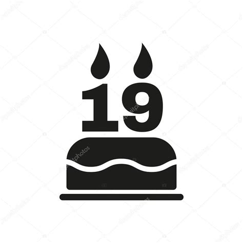 The Birthday Cake With Candles In The Form Of Number 19