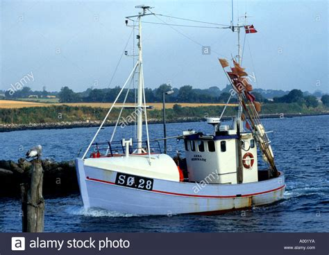 Boat Harbour Denmark Fishing by Island Aero Aeroskobing Denmark Fishing Boat Sea Stock