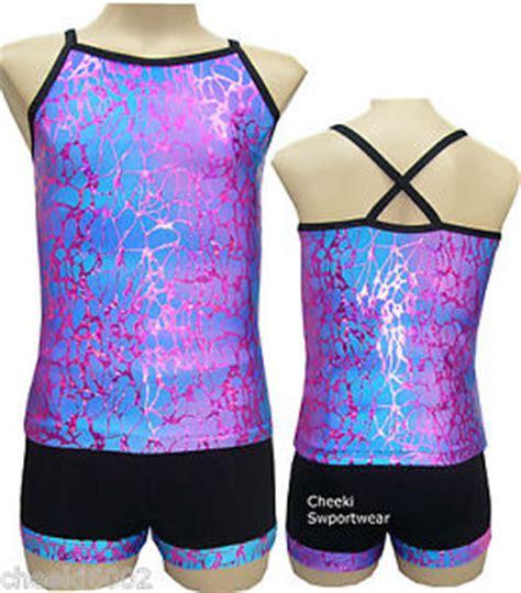 Leotard Gymnastic Dance Singlet Top Shorts Set Size 5 6 8 10 12 | eBay