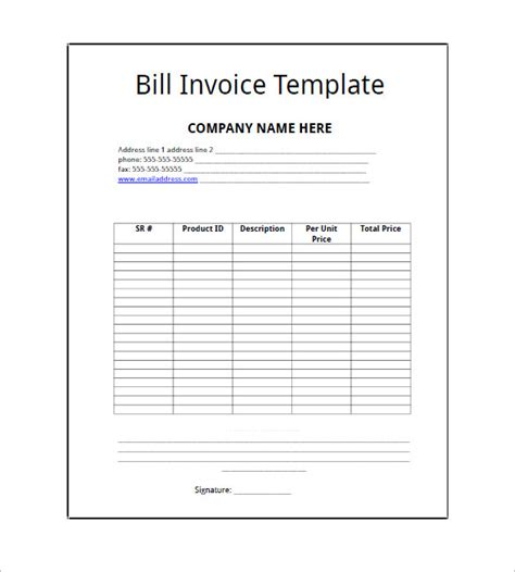 billing invoice template billing invoice template 8 free sle exle format free premium templates