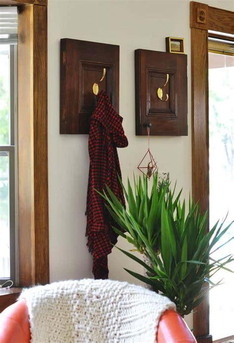 repurposed cabinet doors diy coat rack