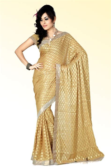 amazaing gold color banarsi designer sari indian