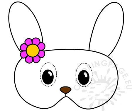bunny mask  flowers printable coloring page