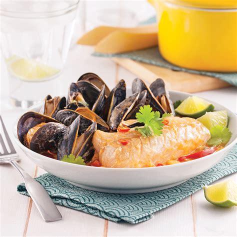 moules cuisin馥s poisson et moules épicés au lait de coco recettes cuisine et nutrition pratico pratique