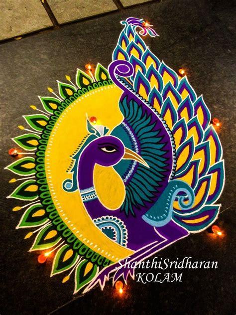 beautiful colorful peacock kolam rangoli designs