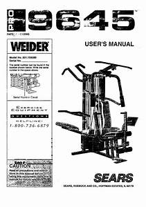 Weider 831159380 User Manual Pro 9645 Manuals And Guides