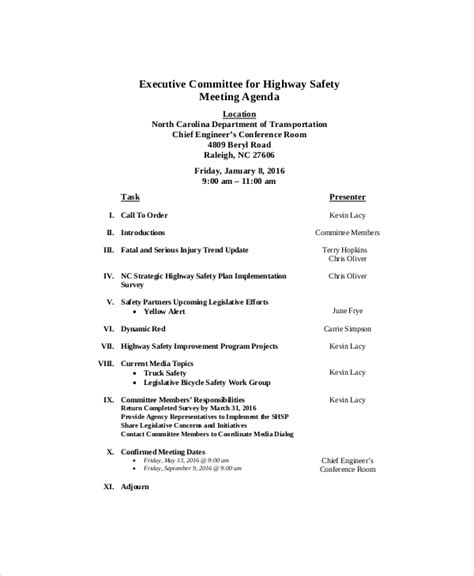 Health And Safety Committee Meeting Agenda Template by Safety Meeting Agenda Template 8 Free Word Pdf