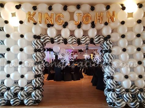 black  white themed prom balloon decorations