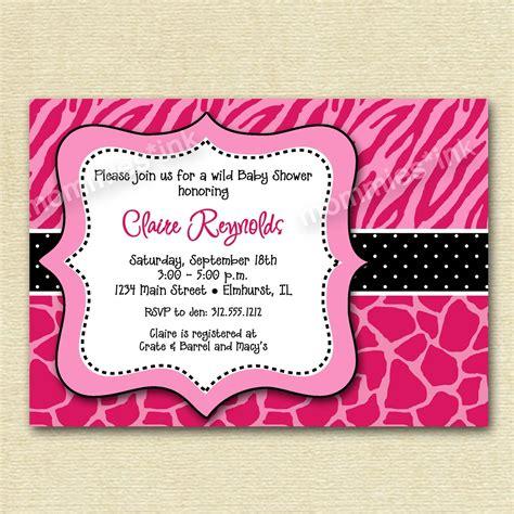 baby shower invitation pink zebra and giraffe print version printable invitation