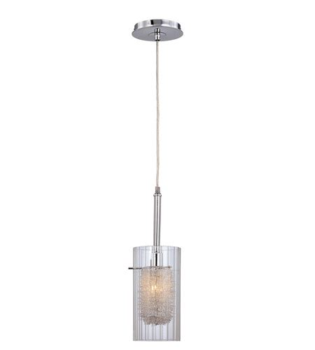Lite Source Caldwell 1 Light Pendant In Chrome With Clear