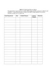 Credit Card Sign Out Sheet Template