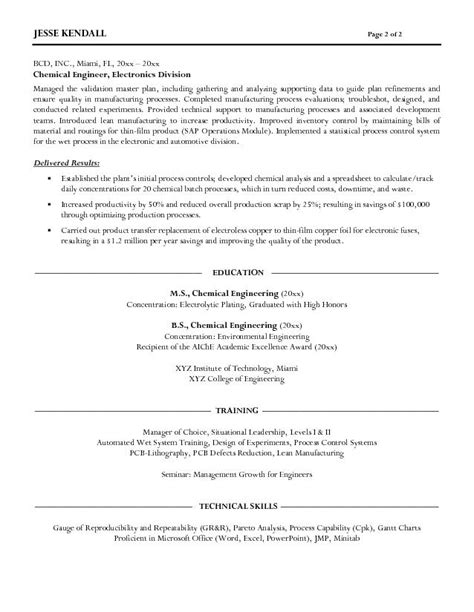 Undergraduate Chemical Engineering Resume by Free Chemical Engineer Resume Exle