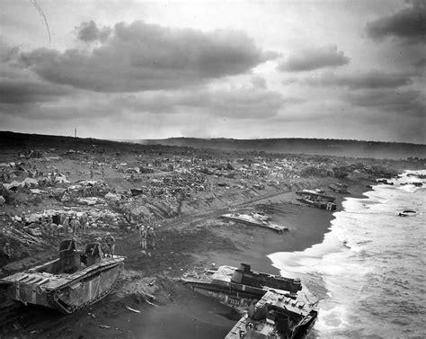 Iwo Jima Beach Wrecked Lvt's Along Shore