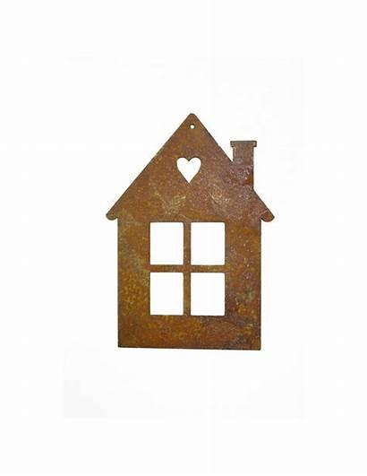 Metall Wandbild Herz Kleines Haus
