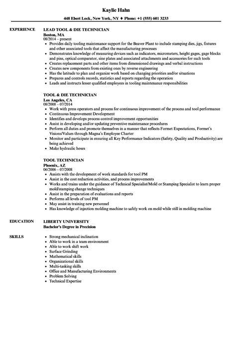 Resume Tools by Tool Technician Resume Sles Velvet