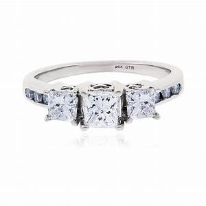 14k white gold 110ctw princess cut diamond engagement ring With white gold diamond cut wedding ring