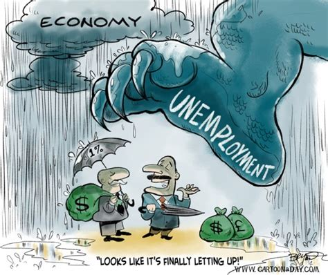 unemployment monster cloudy economy cartoon