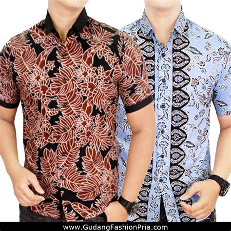 kemeja batik pendek modern batik laki lengan pendek kombinasi motif warna kemeja batik katun