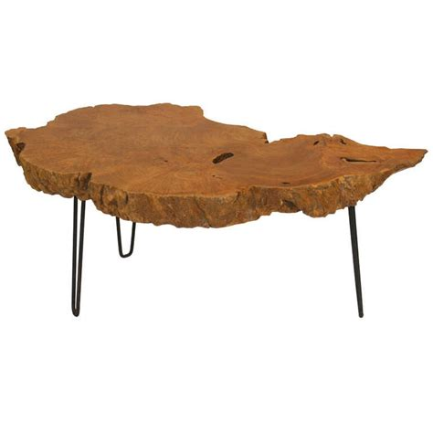 Rustic live edge walnut coffee/end table with applewood legs. Live Edge Burl Root Table on Steel Hairpin Legs For Sale ...