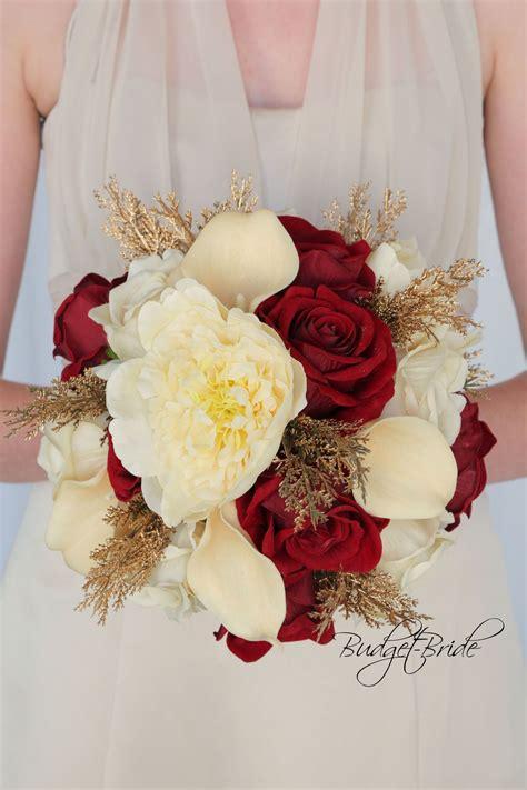 champagne gold  apple red wedding flower bouquet shown