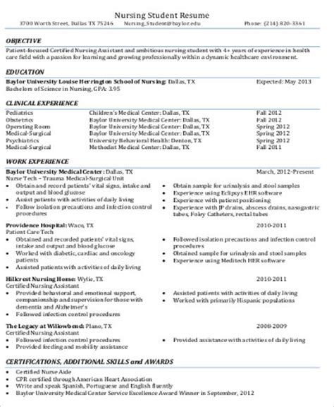 Objectives For Cna Resume by Cna Resume Objective 6 Exles In Word Pdf
