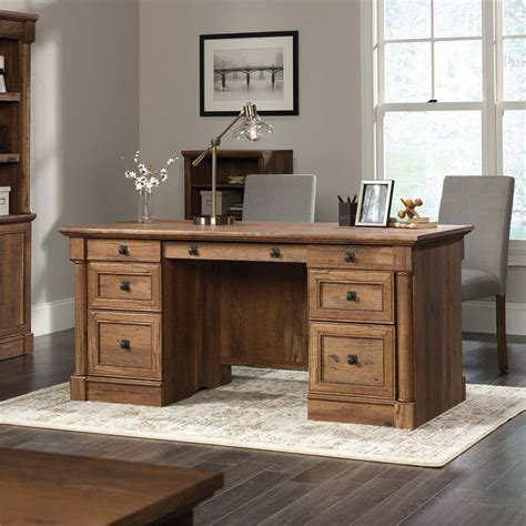 sauder palladia executive desk in vintage oak 420604