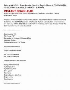 Bobcat 463 Skid Steer Loader Service Repair Manual Download