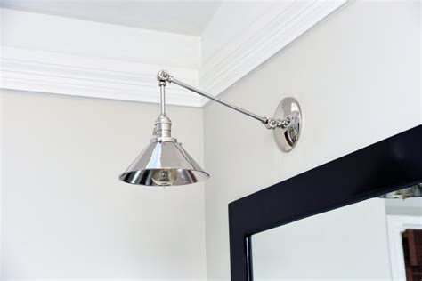 chrome polished nickel articulating boom wall sconce metal