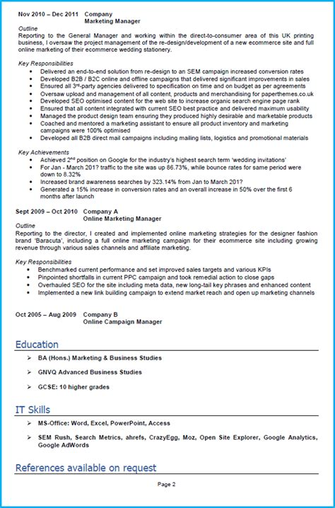 Marketing Cv by Sales Achievement Resume Exles