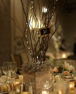 Reception, Centerpiece, Using, Reclaimed, Wood, Containers, And, Twisted, Willow, With, Fairy, Light