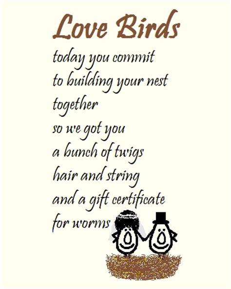 love birds  wedding congrats poem  congratulations