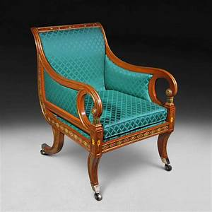 regency, period, decorated, , u0026, gilt, library, chair