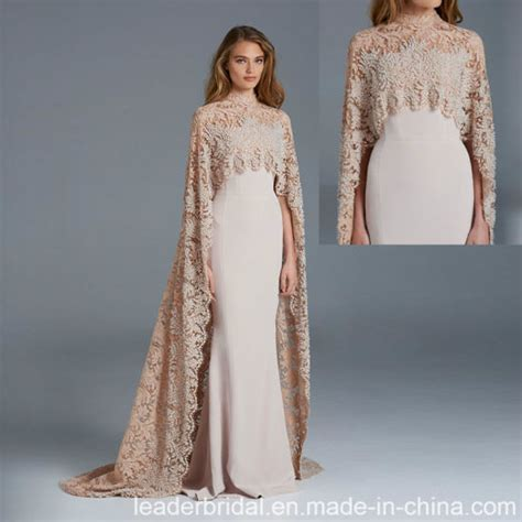 China Arabic Formal Gown Long Shawl Champagne Lace Evening ...