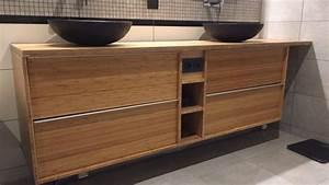 meuble double de salle de bain godmorgon en bambou massif With meuble long salle de bain