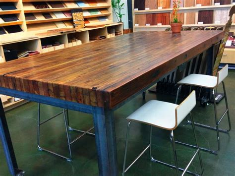 butcher block dining table with white chairs stroovi