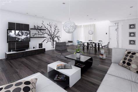 decoration salon sejour gris blanc  noir idee deco