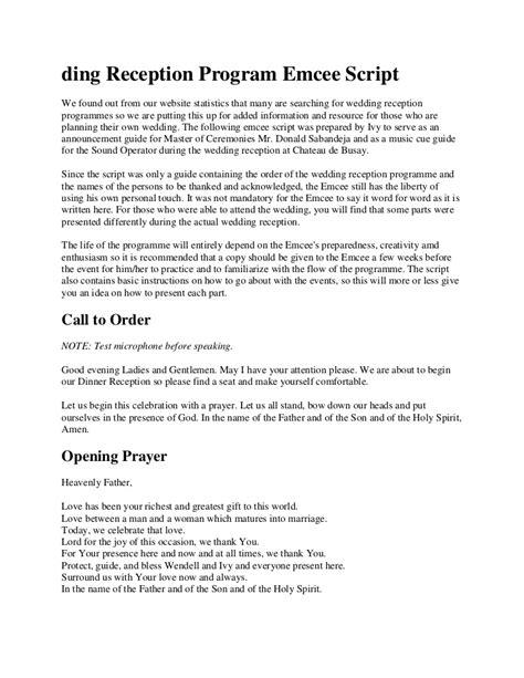 sample script  emcee  seminar