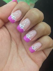 Pink French tip nails with design | NAILS | Pinterest ...