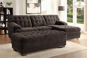 homelegance modern brown tufted plush microfiber sectional With plush sectional sofa with chaise