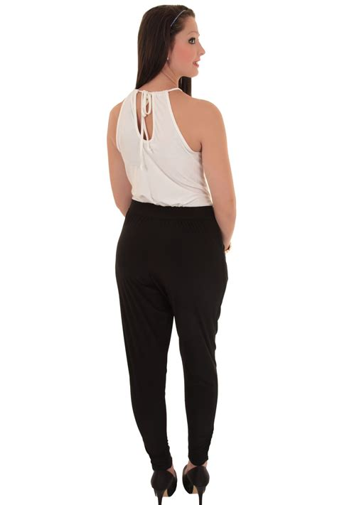 two jumpsuit womens halterneck sleeveless plunge neck casual smart