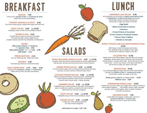 carte cuisine food menu silver bean café