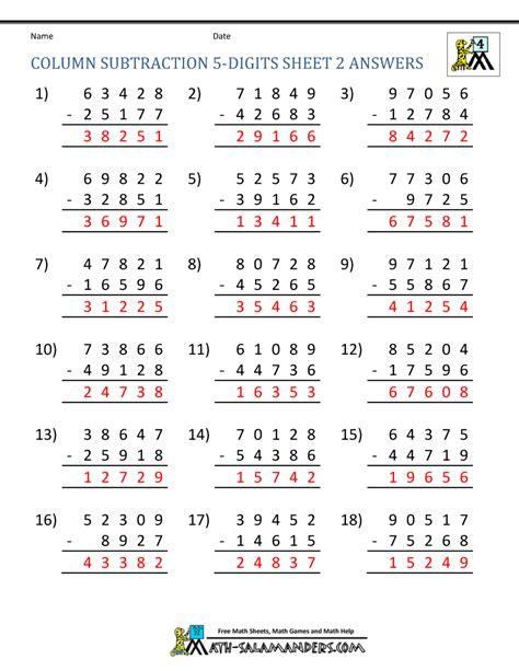 fourth grade math subtraction worksheet 5 digit subtraction worksheets