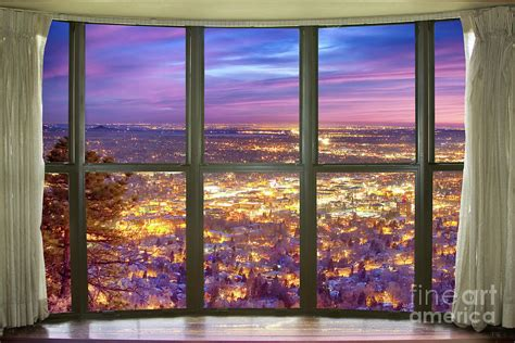 beautiful city lights bay window view photograph by