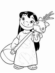 Lilo With Bag And A Doll In Lilo Stitch Coloring Page Download Print Online Coloring Pages