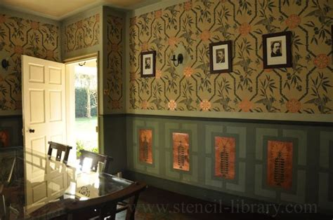 arts  crafts style stencilled dining room design