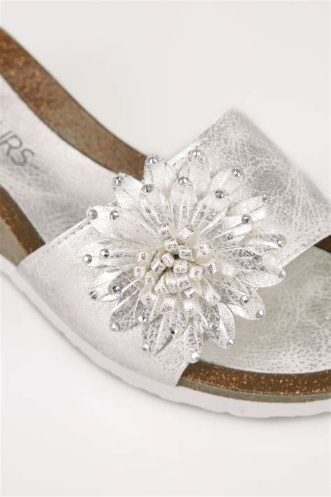 Floral Applique by Silver Floral Applique Wedge Sandals In Eee Fit