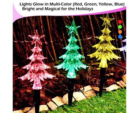 miniature led christmas tree w solar charger 20pc solar lights led mini path trees multi colour 7 effects groceryrun