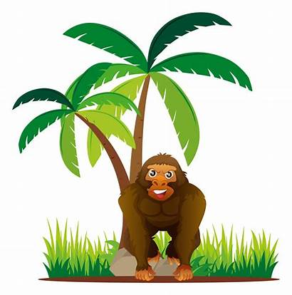 Gorilla Standing Under Tree Vector Clipart Graphics