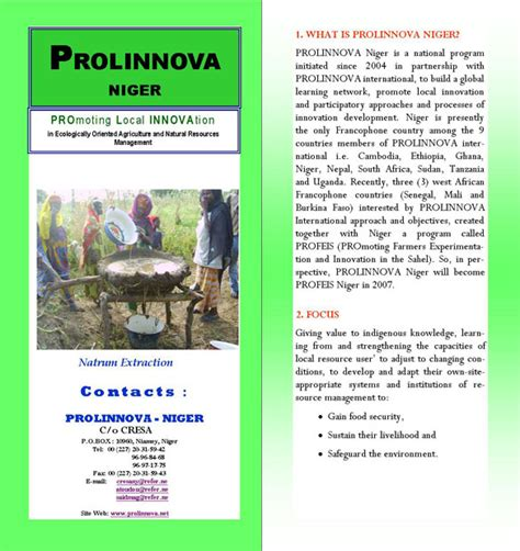Country Brochure Template by Prolinnova Niger Country Platform Brochures
