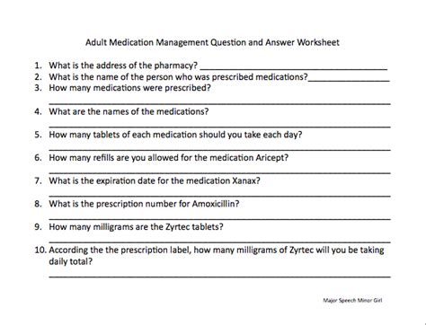Speechie Freebies Medication Management Worksheet